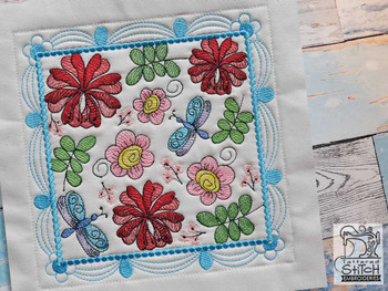 "Whimsical Blooms Quilt Block #1 - Fits a  4x4"", 5x5"", 6x6"", 7x7"", 8x8"" & 10x10""  Hoop - Machine Embroidery Designs"