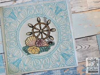 "Ships Wheel Quilt Block-Fits a  5x5"", 6x6"", 7x7"", 8x8"" & 10x10""  Hoop - Machine Embroidery Designs"