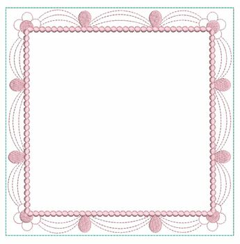 "Scalloped Floral Quilt Block (Blank Center)- Fits a  4x4"", 5x5"", 6x6"", 7x7"", 8x8"" & 10x10""  Hoop - Machine Embroidery Designs"