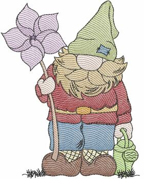 """Pinwheel Gnome - Fits a  4x4"""", 5x7"""" &  8x8"""" Hoop - Machine Embroidery Designs"""