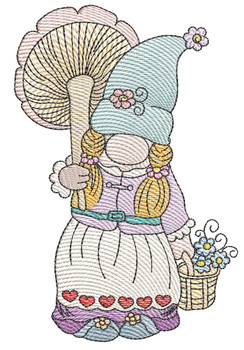 """Gnome With Flowers - Fits a  4x4"""", 5x7"""" &  8x8"""" Hoop - Machine Embroidery Designs"""