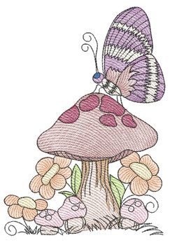 "Butterfly on Mushroom - Fits a  4x4"", 5x7"" &  8x8"" Hoop - Machine Embroidery Designs"