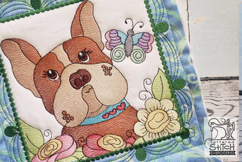 """Whimsical Dog Quilt Block #3 - Fits a  4x4"""", 5x5"""", 6x6"""", 7x7"""", 8x8"""" & 10x10""""  Hoop - Machine Embroidery Designs"""