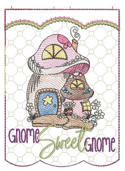 "Gnome Sweet Gnome Garden Flag - Fits  5x7, 6x10  and 8x12"" Hoop - Instant Downloadable Machine Embroidery"