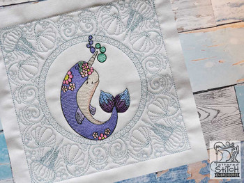 """Narwhal Quilt Block-Fits a  5x5"""", 6x6"""", 7x7"""", 8x8"""" & 10x10""""  Hoop - Machine Embroidery Designs"""