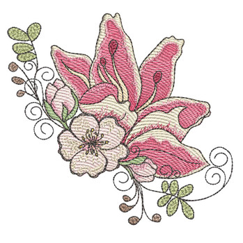 "Cherry Blossom Lilly Cluster (Flowers Only - NO Background)-  Fits a 4x4"" and 5x7"" Hoop - Machine Embroidery Designs"
