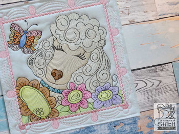 "Whimsical Dog Quilt Block #4 - Fits a  4x4"", 5x5"", 6x6"", 7x7"", 8x8"" & 10x10""  Hoop - Machine Embroidery Designs"