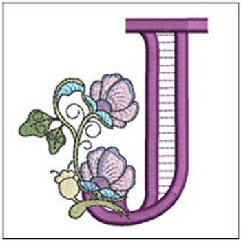 "Jacobean ABCs - J - Fits a 5x7"" Hoop - Embroidery Designs"