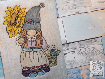 "Sunflower Gnome - Fits a  4x4"", 5x7"" &  8x8"" Hoop - Machine Embroidery Designs"