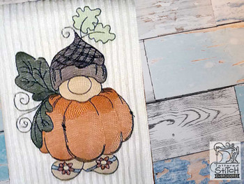 "Baby Pumpkin Gnome - Fits a  4x4"", 5x7"" &  8x8"" Hoop - Machine Embroidery Designs"