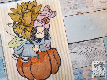 "Gnome on Pumpkin - Fits a  4x4"", 5x7"" &  8x8"" Hoop - Machine Embroidery Designs"