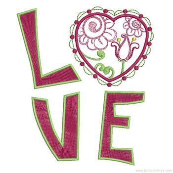 Valentine Love Applique - Embroidery Designs
