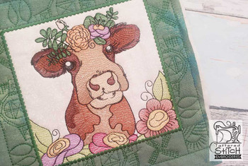 "Farm Animals - Lulu Quilt Block #1 - Fits a 5x5"", 6x6"", 7x7"", 8x8"" & 10x10""  Hoop - Machine Embroidery Designs"