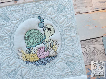"""Baby Turtle Quilt Block-Fits a  5x5"""", 6x6"""", 7x7"""", 8x8"""" & 10x10""""  Hoop - Machine Embroidery Designs"""