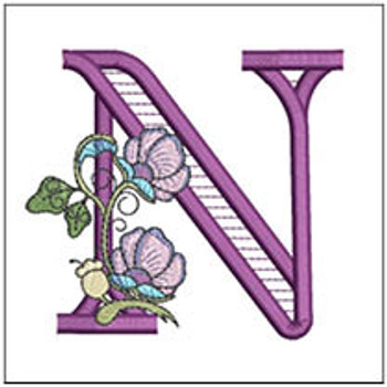 """Jacobean ABCs - N - Fits a 5x7"""" Hoop - Embroidery Designs"""
