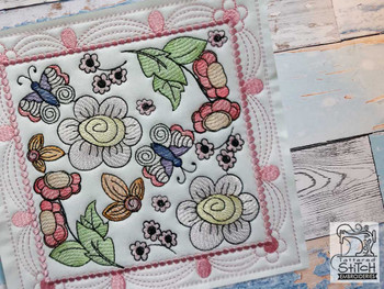 "Whimsical Blooms Quilt Block #2 - Fits a  4x4"", 5x5"", 6x6"", 7x7"", 8x8"" & 10x10""  Hoop - Machine Embroidery Designs"