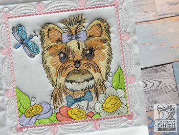 """Whimsical Dog Quilt Block #5 - Fits a  4x4"""", 5x5"""", 6x6"""", 7x7"""", 8x8"""" & 10x10""""  Hoop - Machine Embroidery Designs"""