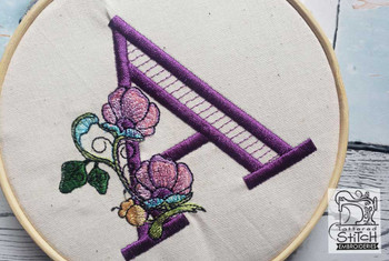 "Jacobean ABCs - Q - Fits a 5x7"" Hoop - Embroidery Designs"