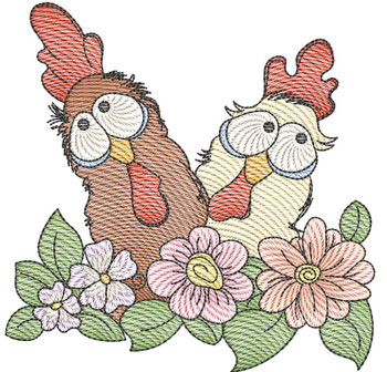 """Chickens In Flowers (No Quilt Block Background)  - Fits a 4x4"""", 5x7"""", &  8x8"""" Hoop - Machine Embroidery Designs"""