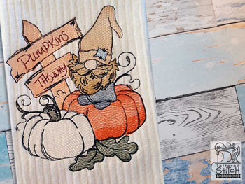 "Pumpkin Patch Gnome - Fits a  4x4"", 5x7"" &  8x8"" Hoop - Machine Embroidery Designs"