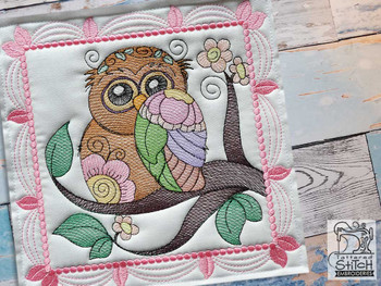 """Whimsical Owl Quilt Block #2 - Fits a  4x4"""", 5x5"""", 6x6"""", 7x7"""", 8x8"""" & 10x10""""  Hoop - Machine Embroidery Designs"""