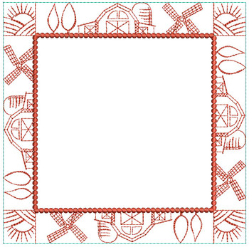 "Farm Quilt Block Background - Blank Center  - Fits a 5x5"", 6x6"", 7x7"", 8x8"" & 10x10""  Hoop - Machine Embroidery Designs"