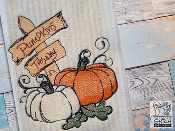 "Pumpkins This Way - Fits a  4x4"", 5x7"" &  8x8"" Hoop - Machine Embroidery Designs"