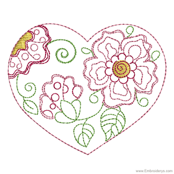 Fanciful Flowers Heart - Embroidery Designs