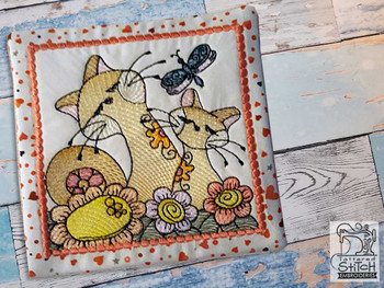 "2 Cats Mug Rug - Fits a 5x7"" Hoop - Machine Embroidery Designs"