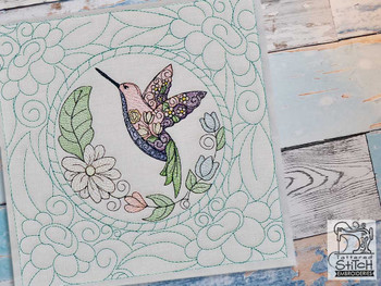 "Hummingbird Quilt Block-Fits a  5x5"", 6x6"", 7x7"", 8x8"" & 10x10""  Hoop - Machine Embroidery Designs"