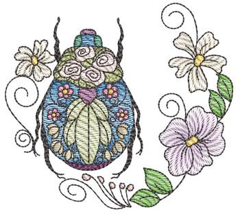 "Scarab Beetle Laurel -Fits a  4x4"", 5x7"" & 7x7""  Hoop - Machine Embroidery Designs"