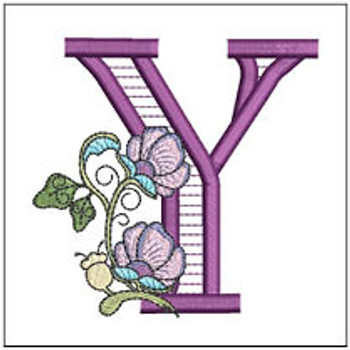 """Jacobean ABCs - Y - Fits a 5x7"""" Hoop - Embroidery Designs"""