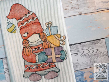 "Gnome with Gifts - Fits a  4x4"", 5x7"" &  8x8"" Hoop - Machine Embroidery Designs"