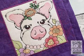 "Farm Animals - Glam Piggy Quilt Block #3  - Fits a 5x5"", 6x6"", 7x7"", 8x8"" & 10x10""  Hoop - Machine Embroidery Designs"