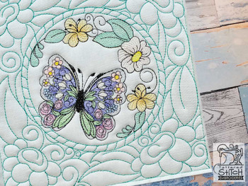 "Stain Glass Butterfly Quilt Block-Fits a  5x5"", 6x6"", 7x7"", 8x8"" & 10x10""  Hoop - Machine Embroidery Designs"