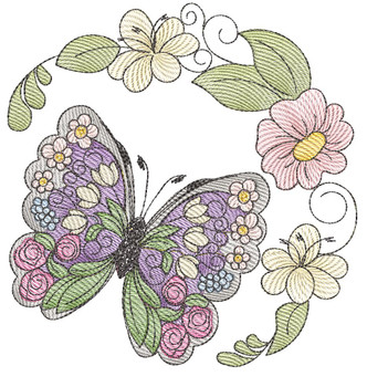 """Stain Glass Butterfly Laurel -Fits a  4x4"""", 5x7"""" & 7x7""""  Hoop - Machine Embroidery Designs"""