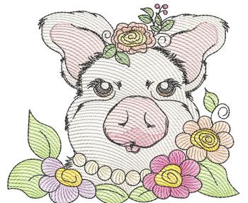"Glam Piggy -Fits a  4x4"", 5x7"" & 7x7""  Hoop - Machine Embroidery Designs"