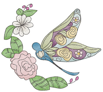 """Stain Glass Dragonfly Laurel -Fits a  4x4"""", 5x7"""" & 7x7""""  Hoop - Machine Embroidery Designs"""