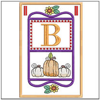 "Fall Folk ABCs Bunting - B -Fits a   5x7""Hoop - Machine Embroidery Designs"