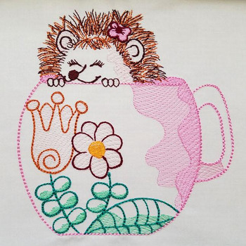 Adorable Happy Hedgehog - Embroidery Designs
