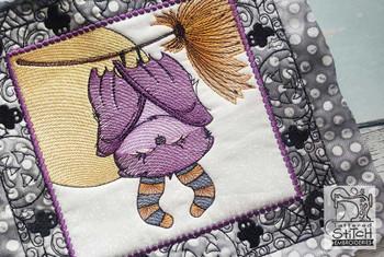 "Monster Bat Quilt Block-Fits a  5x5"", 6x6"", 7x7"", 8x8"" & 10x10""  Hoop - Machine Embroidery Designs"