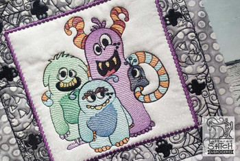 "Monster Crew Quilt Block-Fits a  5x5"", 6x6"", 7x7"", 8x8"" & 10x10""  Hoop - Machine Embroidery Designs"