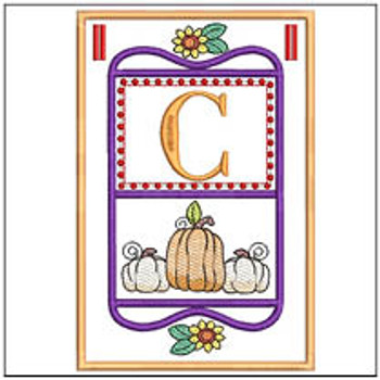 "Fall Folk ABCs Bunting - C - Fits a   5x7""Hoop - Machine Embroidery Designs"