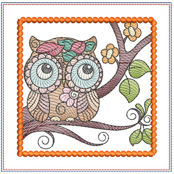 "Owl Mug Rug - Fits a 5x7"" Hoop - Machine Embroidery Designs"