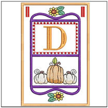 "Fall Folk ABCs Bunting - D - Fits a   5x7""Hoop - Machine Embroidery Designs"