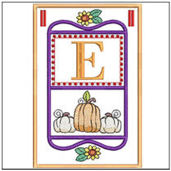 "Fall Folk ABCs Bunting - E - Fits a   5x7""Hoop - Machine Embroidery Designs"