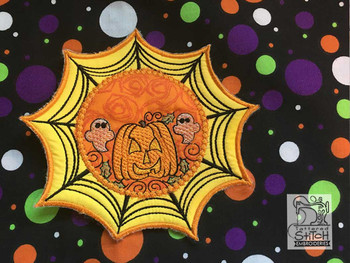 "Web Pumpkin Coaster - Fits in a 5x7"" Hoop - Instant Downloadable Machine Embroidery"