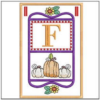 "Fall Folk ABCs Bunting - F - Fits a   5x7""Hoop - Machine Embroidery Designs"