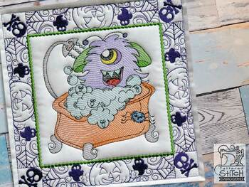 "Monster Bath Quilt Block-Fits a  5x5"", 6x6"", 7x7"", 8x8"" & 10x10""  Hoop - Machine Embroidery Designs"