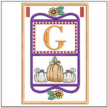 "Fall Folk ABCs Bunting - G - Fits a   5x7""Hoop - Machine Embroidery Designs"